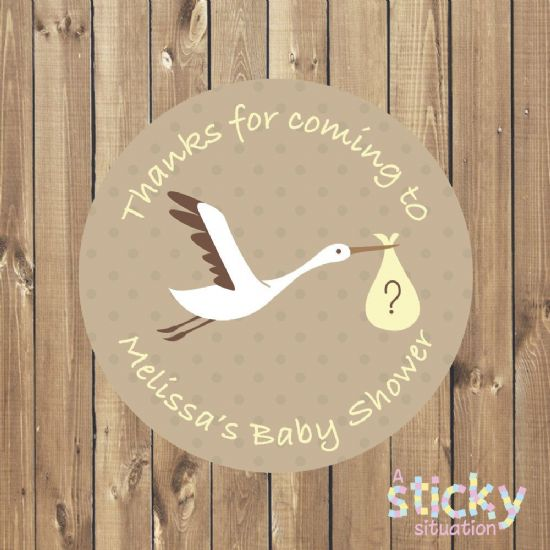 Personalised Baby Shower Stickers - Stork Design
